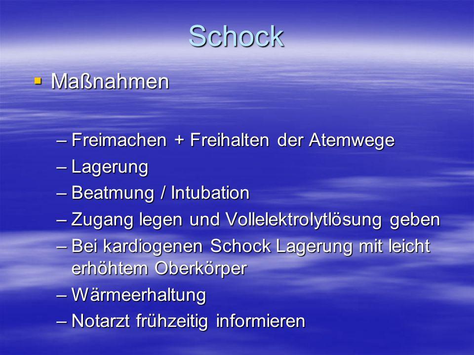 Schock Maßnahmen Maßnahmen –Freimachen + Freihalten der Atemwege –Lagerung –Beatmung / Intubation –Zugang legen und Vollelektrolytlösung geben –Bei ka