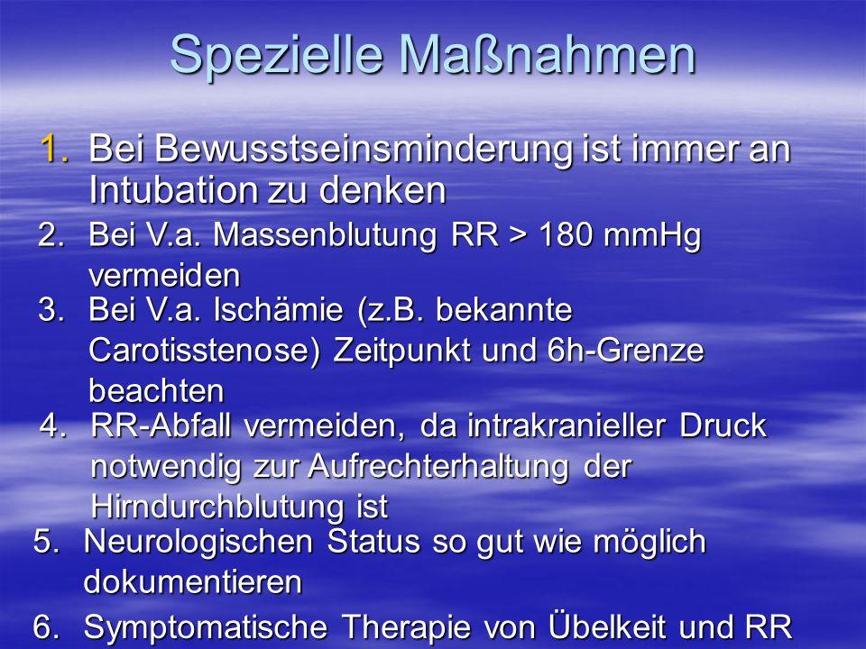 Spezielle Maßnahmen 1.Bei Bewusstseinsminderung ist immer an Intubation zu denken 2.Bei V.a. Massenblutung RR > 180 mmHg vermeiden 4.RR-Abfall vermeid