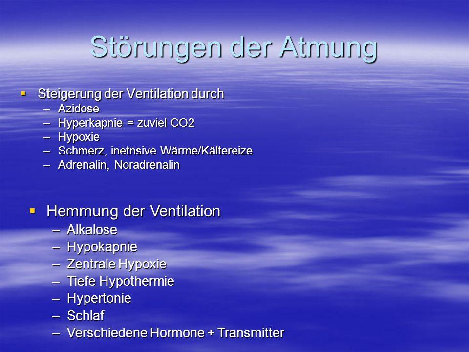 Störungen der Atmung Steigerung der Ventilation durch Steigerung der Ventilation durch –Azidose –Hyperkapnie = zuviel CO2 –Hypoxie –Schmerz, inetnsive
