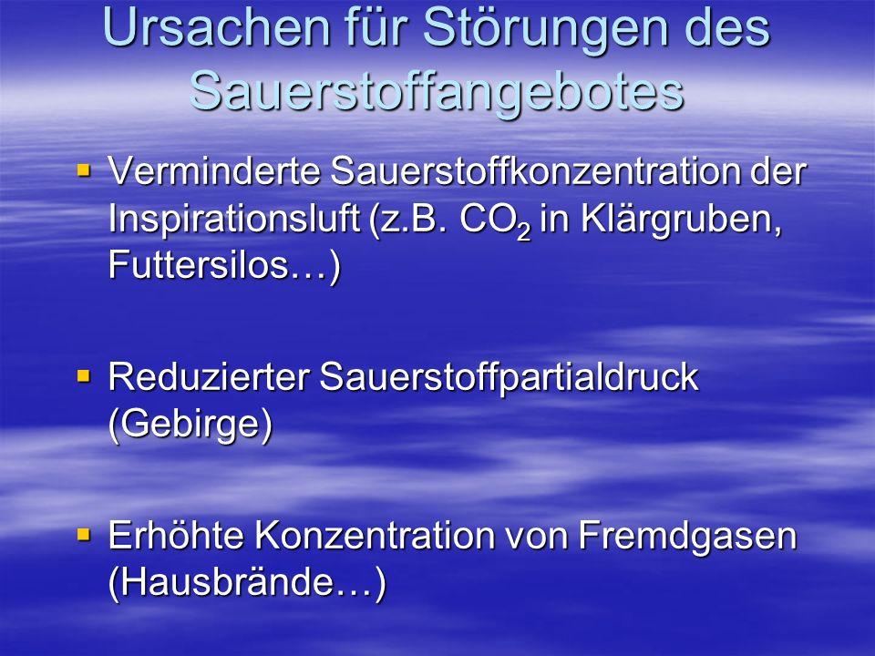 Ursachen für Störungen des Sauerstoffangebotes Verminderte Sauerstoffkonzentration der Inspirationsluft (z.B. CO 2 in Klärgruben, Futtersilos…) Vermin