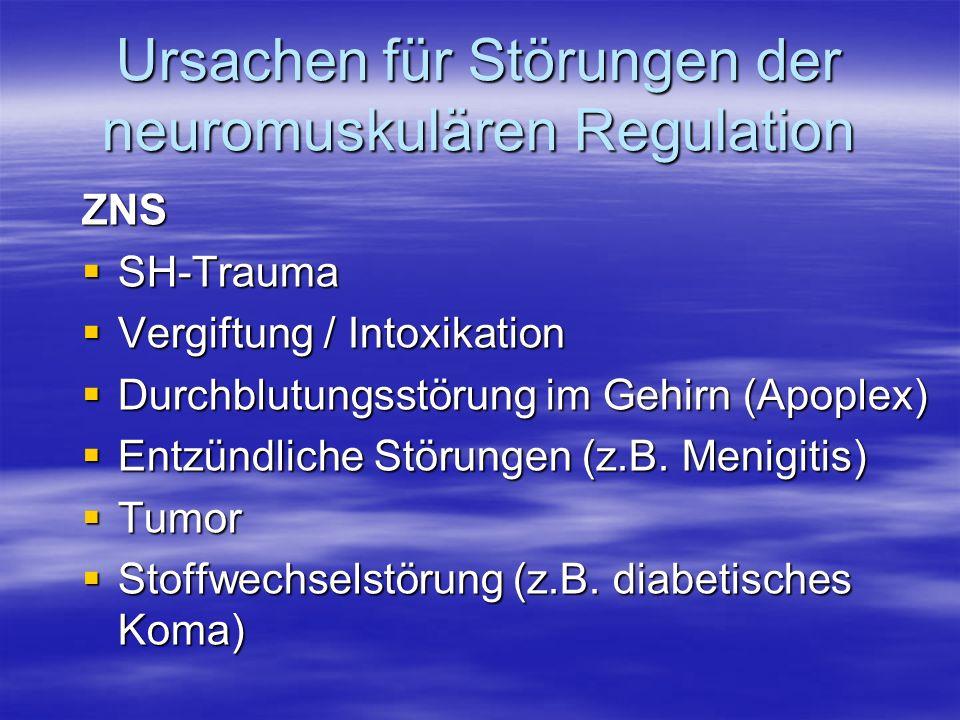 Ursachen für Störungen der neuromuskulären Regulation ZNS SH-Trauma SH-Trauma Vergiftung / Intoxikation Vergiftung / Intoxikation Durchblutungsstörung