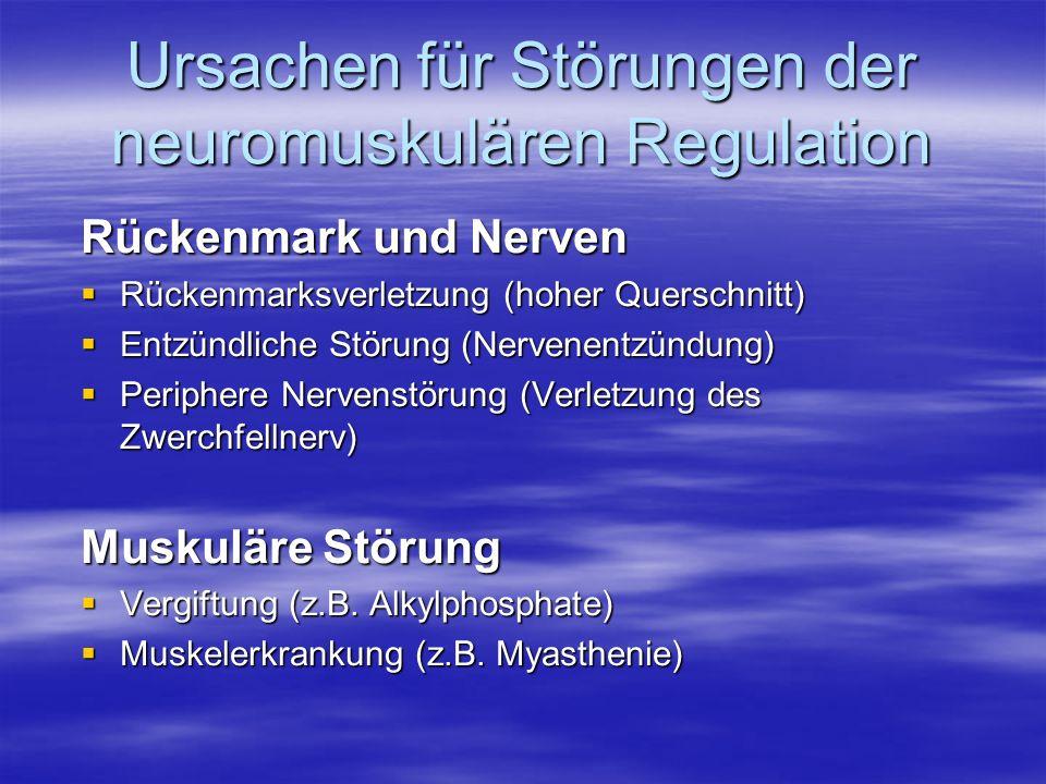 Ursachen für Störungen der neuromuskulären Regulation Rückenmark und Nerven Rückenmarksverletzung (hoher Querschnitt) Rückenmarksverletzung (hoher Que