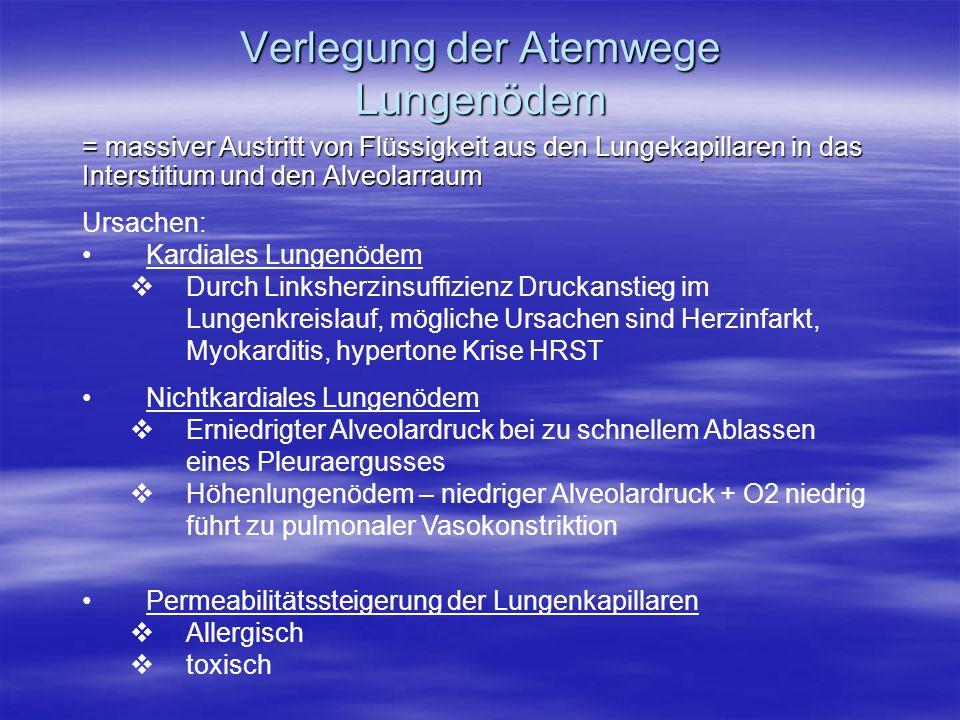Verlegung der Atemwege Lungenödem = massiver Austritt von Flüssigkeit aus den Lungekapillaren in das Interstitium und den Alveolarraum Ursachen: Kardi