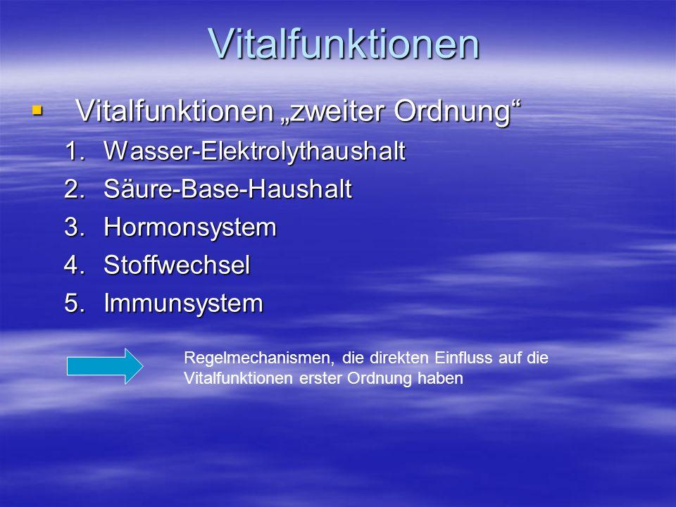 Vitalfunktionen Vitalfunktionen zweiter Ordnung Vitalfunktionen zweiter Ordnung 1.Wasser-Elektrolythaushalt 2.Säure-Base-Haushalt 3.Hormonsystem 4.Sto