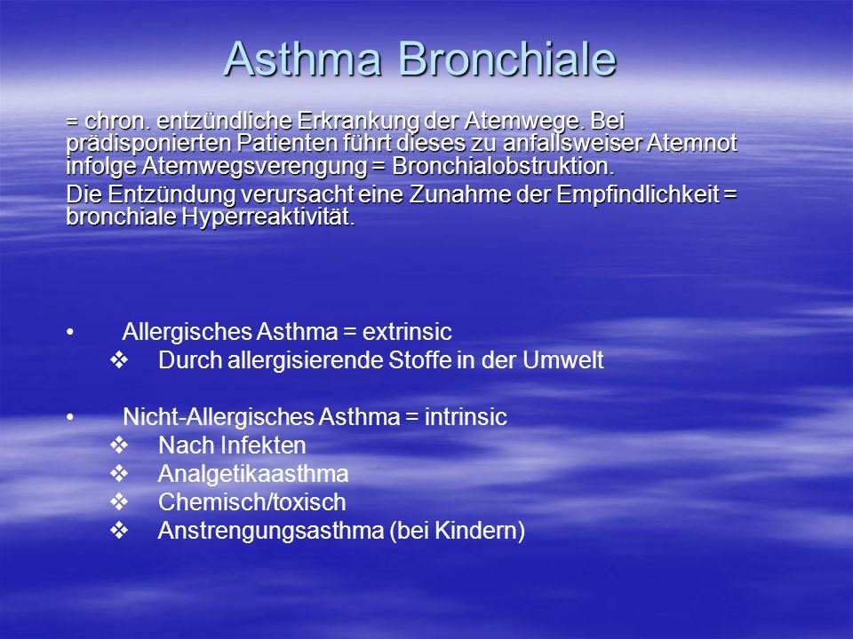 Asthma Bronchiale = chron. entzündliche Erkrankung der Atemwege. Bei prädisponierten Patienten führt dieses zu anfallsweiser Atemnot infolge Atemwegsv