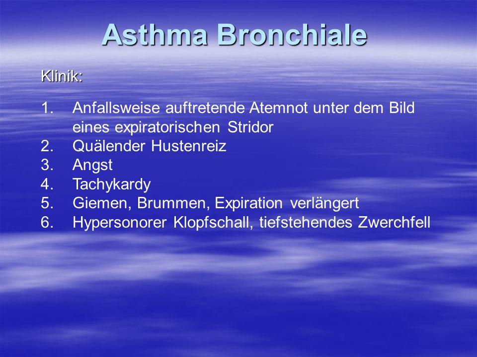 Asthma Bronchiale Klinik: 1.Anfallsweise auftretende Atemnot unter dem Bild eines expiratorischen Stridor 2.Quälender Hustenreiz 3.Angst 4.Tachykardy