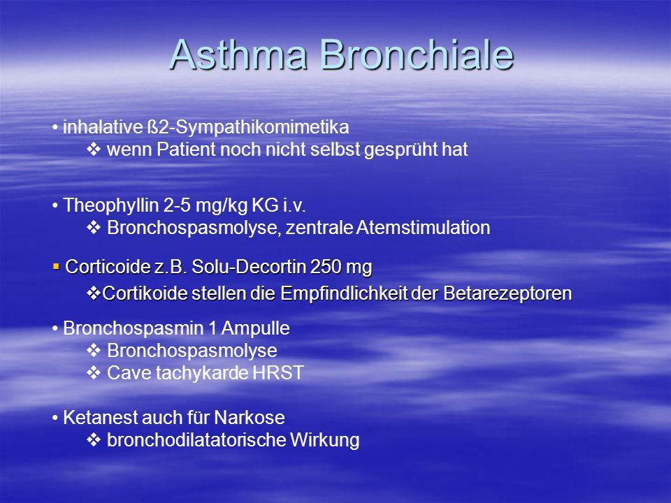 Asthma Bronchiale Corticoide z.B. Solu-Decortin 250 mg Corticoide z.B. Solu-Decortin 250 mg Cortikoide stellen die Empfindlichkeit der Betarezeptoren