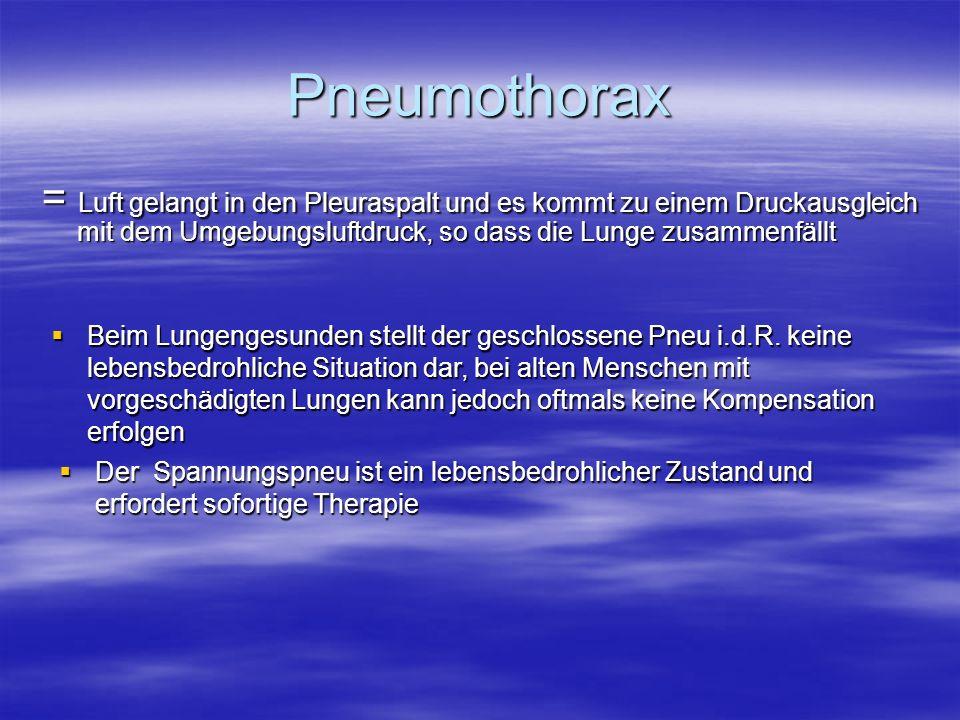 Pneumothorax = Luft gelangt in den Pleuraspalt und es kommt zu einem Druckausgleich mit dem Umgebungsluftdruck, so dass die Lunge zusammenfällt Beim L