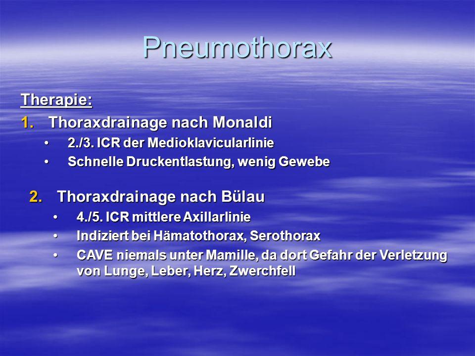 Pneumothorax Therapie: 1.Thoraxdrainage nach Monaldi 2./3. ICR der Medioklavicularlinie2./3. ICR der Medioklavicularlinie Schnelle Druckentlastung, we
