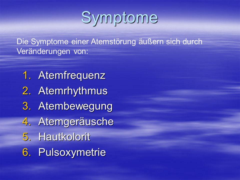 Symptome 1.Atemfrequenz 2.Atemrhythmus 3.Atembewegung 4.Atemgeräusche 5.Hautkolorit 6.Pulsoxymetrie Die Symptome einer Atemstörung äußern sich durch V