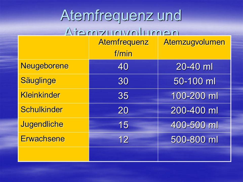 Atemfrequenz und Atemzugvolumen Atemfrequenzf/minAtemzugvolumen Neugeborene40 20-40 ml Säuglinge30 50-100 ml Kleinkinder35 100-200 ml Schulkinder20 20
