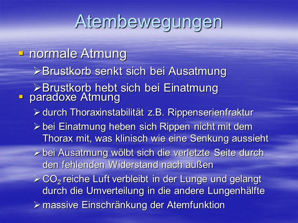 Atembewegungen normale Atmung normale Atmung Brustkorb senkt sich bei Ausatmung Brustkorb senkt sich bei Ausatmung Brustkorb hebt sich bei Einatmung B