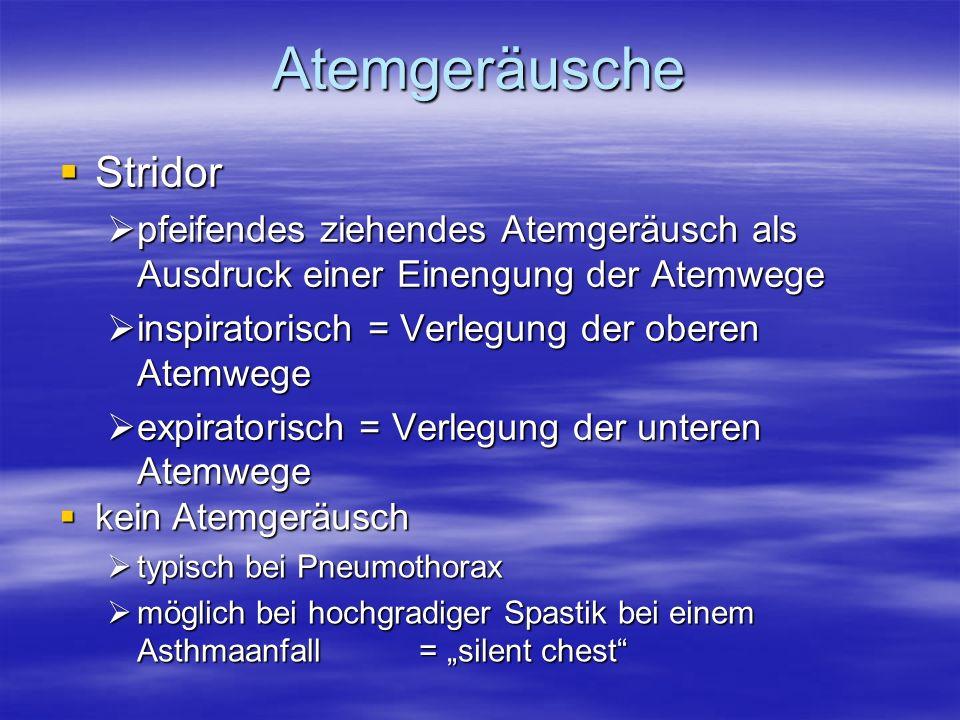 Stridor Stridor pfeifendes ziehendes Atemgeräusch als Ausdruck einer Einengung der Atemwege pfeifendes ziehendes Atemgeräusch als Ausdruck einer Einen