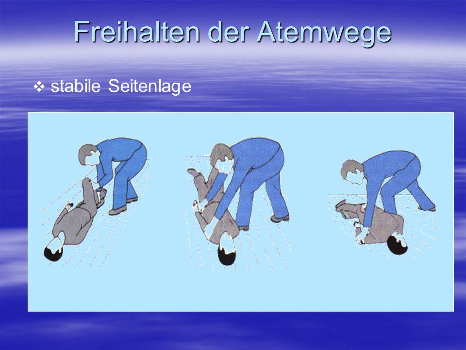 Freihalten der Atemwege stabile Seitenlage