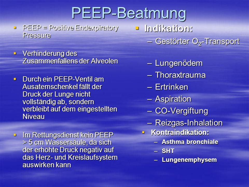 PEEP-Beatmung PEEP = Positive Endexpiratory Pressure PEEP = Positive Endexpiratory Pressure Verhinderung des Zusammenfallens der Alveolen Verhinderung