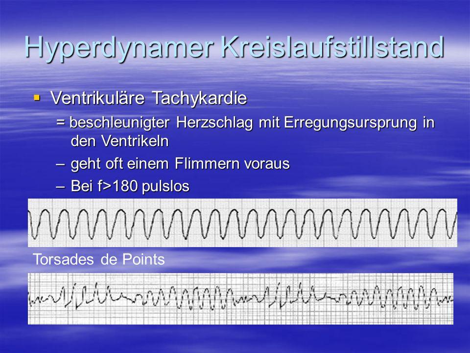 Hyperdynamer Kreislaufstillstand Ventrikuläre Tachykardie Ventrikuläre Tachykardie = beschleunigter Herzschlag mit Erregungsursprung in den Ventrikeln