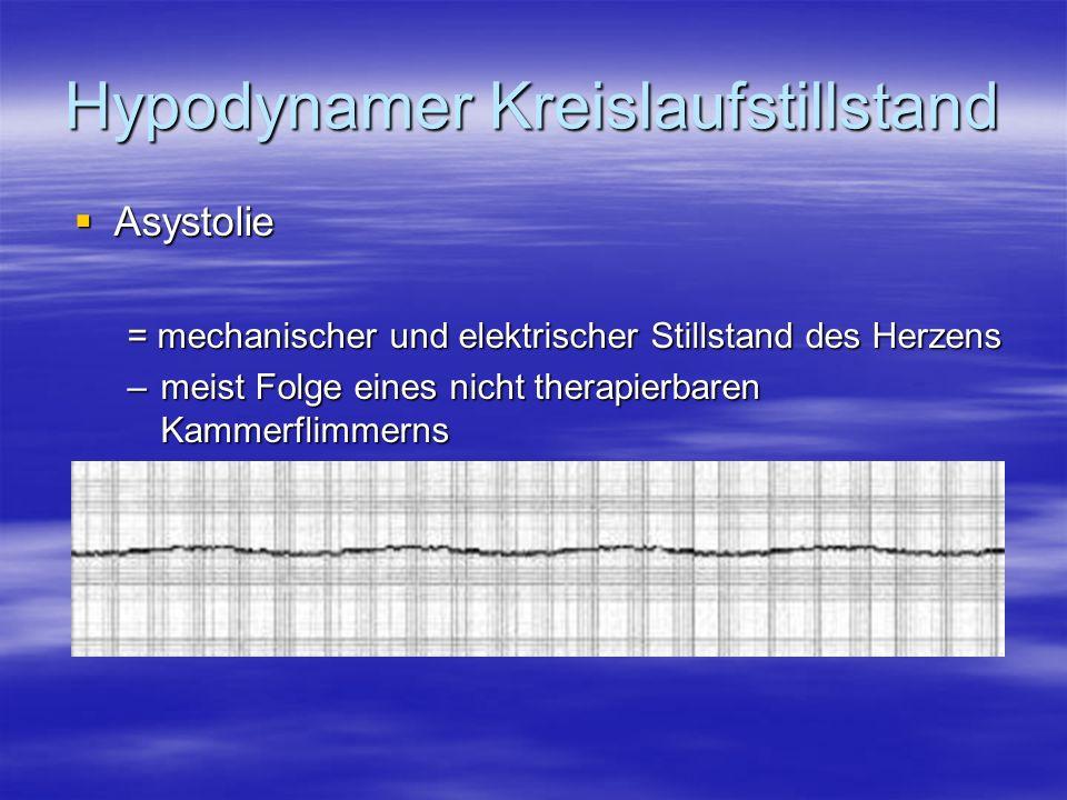 Hypodynamer Kreislaufstillstand Asystolie Asystolie = mechanischer und elektrischer Stillstand des Herzens –meist Folge eines nicht therapierbaren Kam