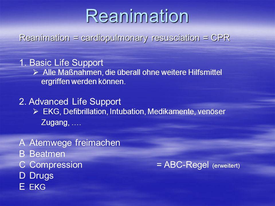 Reanimation Reanimation = cardiopulmonary resusciation = CPR 1.Basic Life Support Alle Maßnahmen, die überall ohne weitere Hilfsmittel ergriffen werde