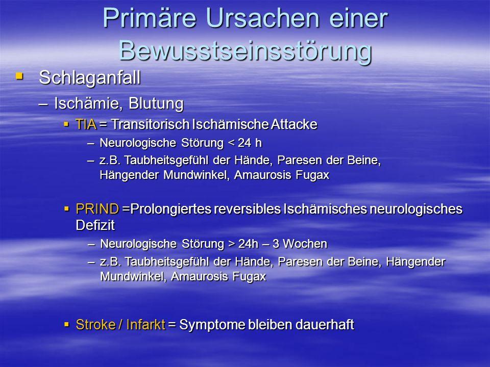 Primäre Ursachen einer Bewusstseinsstörung Schlaganfall Schlaganfall –Ischämie, Blutung TIA = Transitorisch Ischämische Attacke TIA = Transitorisch Is