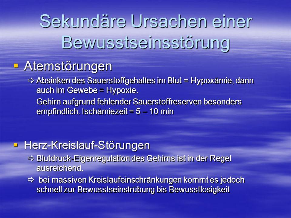 Atemstörungen Atemstörungen Absinken des Sauerstoffgehaltes im Blut = Hypoxämie, dann auch im Gewebe = Hypoxie. Absinken des Sauerstoffgehaltes im Blu