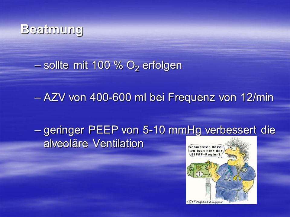Beatmung –sollte mit 100 % O 2 erfolgen –AZV von 400-600 ml bei Frequenz von 12/min –geringer PEEP von 5-10 mmHg verbessert die alveoläre Ventilation