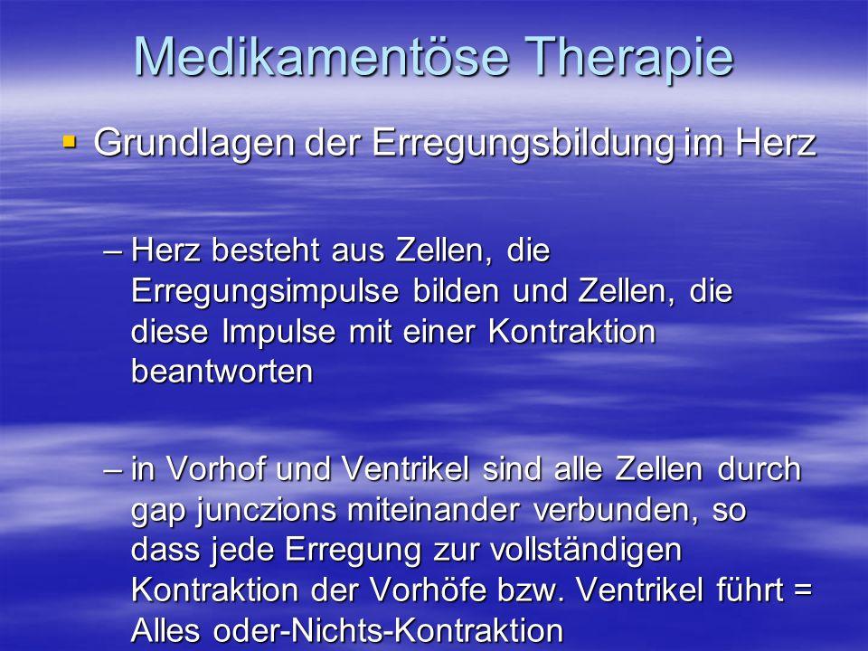 Medikamentöse Therapie Grundlagen der Erregungsbildung im Herz Grundlagen der Erregungsbildung im Herz –Herz besteht aus Zellen, die Erregungsimpulse