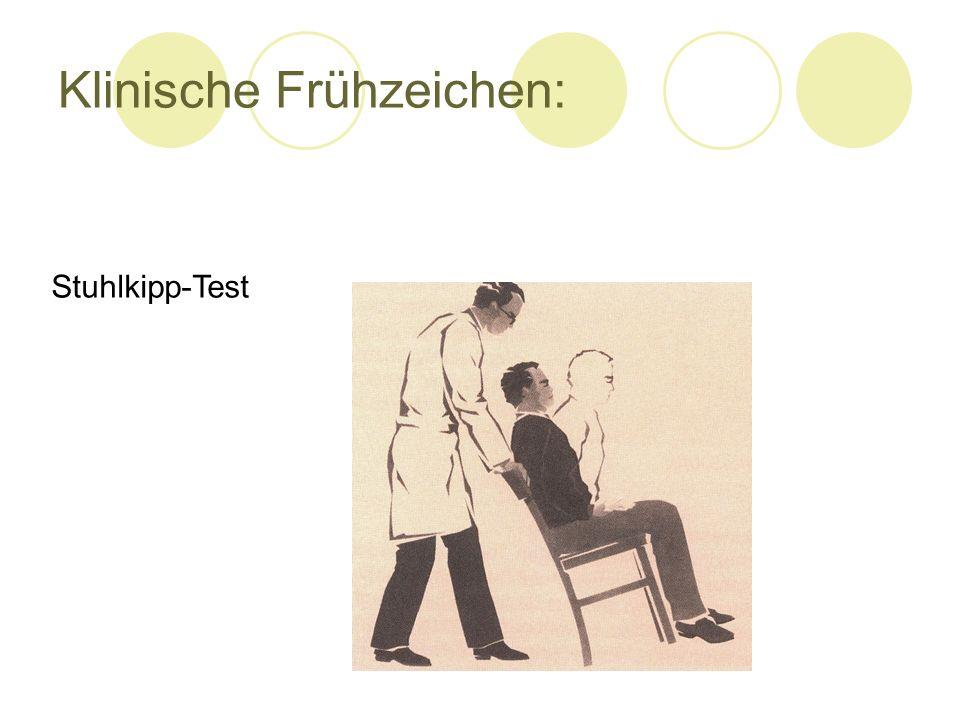 Klinische Frühzeichen: Stuhlkipp-Test