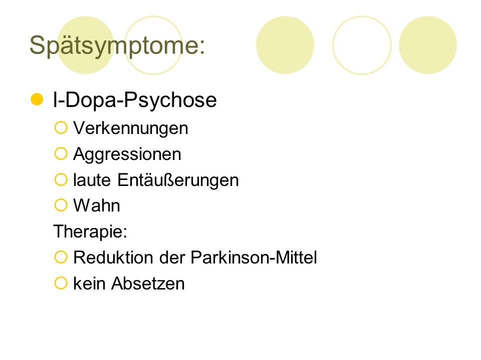 Spätsymptome: l-Dopa-Psychose Verkennungen Aggressionen laute Entäußerungen Wahn Therapie: Reduktion der Parkinson-Mittel kein Absetzen