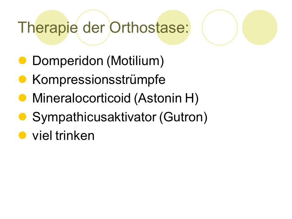 Therapie der Orthostase: Domperidon (Motilium) Kompressionsstrümpfe Mineralocorticoid (Astonin H) Sympathicusaktivator (Gutron) viel trinken
