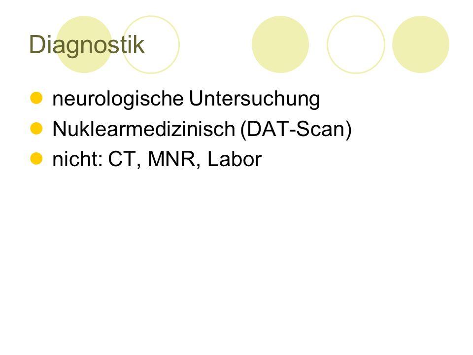 Diagnostik neurologische Untersuchung Nuklearmedizinisch (DAT-Scan) nicht: CT, MNR, Labor