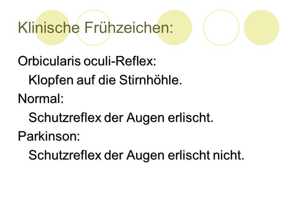 Klinische Frühzeichen: Orbicularis oculi-Reflex: Klopfen auf die Stirnhöhle.