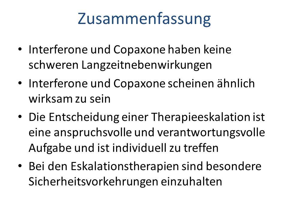 Zusammenfassung Interferone und Copaxone haben keine schweren Langzeitnebenwirkungen Interferone und Copaxone scheinen ähnlich wirksam zu sein Die Entscheidung einer Therapieeskalation ist eine anspruchsvolle und verantwortungsvolle Aufgabe und ist individuell zu treffen Bei den Eskalationstherapien sind besondere Sicherheitsvorkehrungen einzuhalten
