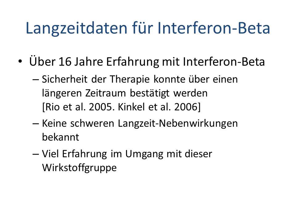 Langzeitdaten für Interferon-Beta Über 16 Jahre Erfahrung mit Interferon-Beta – Sicherheit der Therapie konnte über einen längeren Zeitraum bestätigt werden [Rio et al.