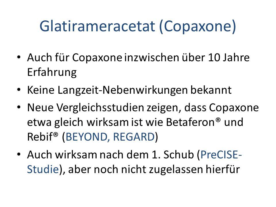 Glatirameracetat (Copaxone) Auch für Copaxone inzwischen über 10 Jahre Erfahrung Keine Langzeit-Nebenwirkungen bekannt Neue Vergleichsstudien zeigen, dass Copaxone etwa gleich wirksam ist wie Betaferon® und Rebif® (BEYOND, REGARD) Auch wirksam nach dem 1.