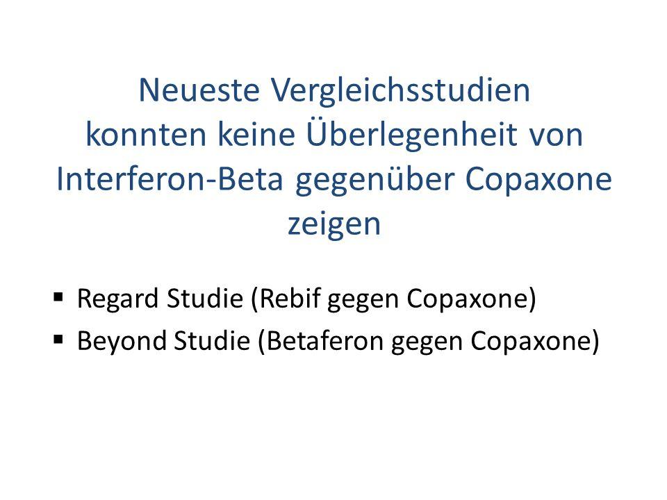 Regard Studie (Rebif gegen Copaxone) Beyond Studie (Betaferon gegen Copaxone) Neueste Vergleichsstudien konnten keine Überlegenheit von Interferon-Beta gegenüber Copaxone zeigen
