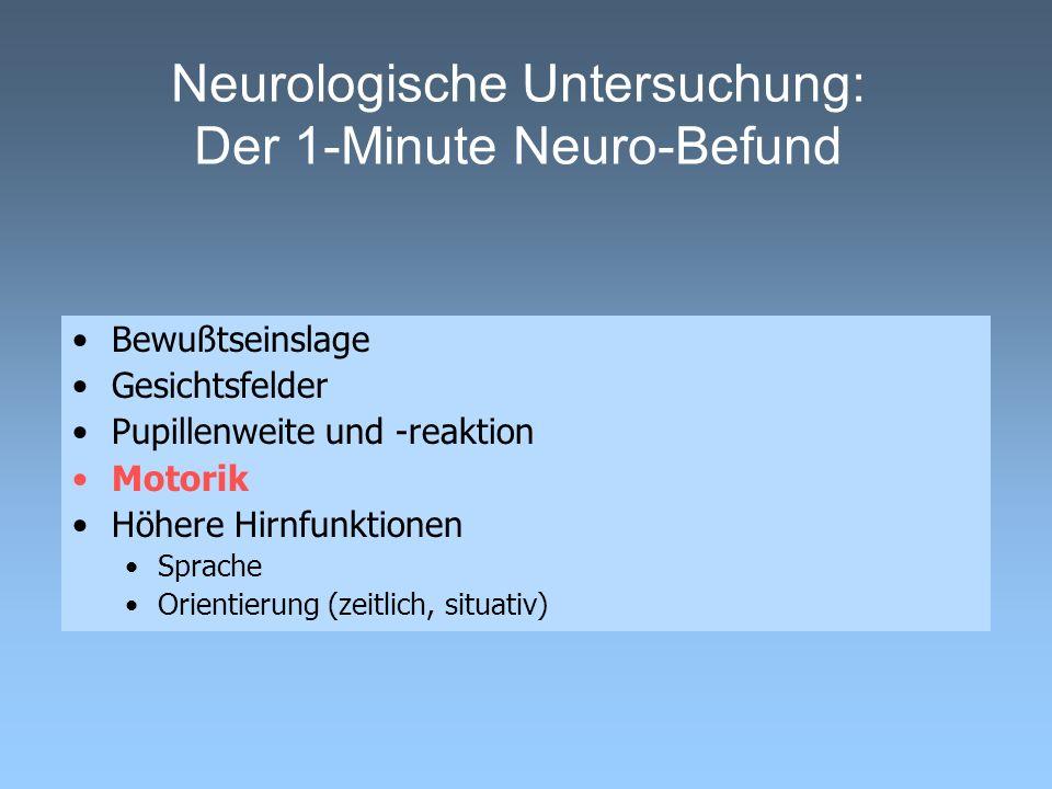 Neurologische Untersuchung: Der 1-Minute Neuro-Befund Bewußtseinslage Gesichtsfelder Pupillenweite und -reaktion Motorik Höhere Hirnfunktionen Sprache