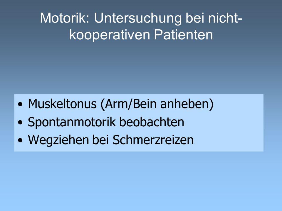 Motorik: Untersuchung bei nicht- kooperativen Patienten Muskeltonus (Arm/Bein anheben) Spontanmotorik beobachten Wegziehen bei Schmerzreizen