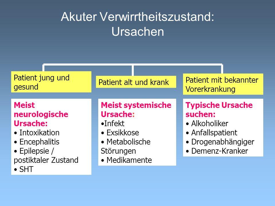 Akuter Verwirrtheitszustand: Ursachen Patient jung und gesund Patient alt und krank Patient mit bekannter Vorerkrankung Meist neurologische Ursache: I