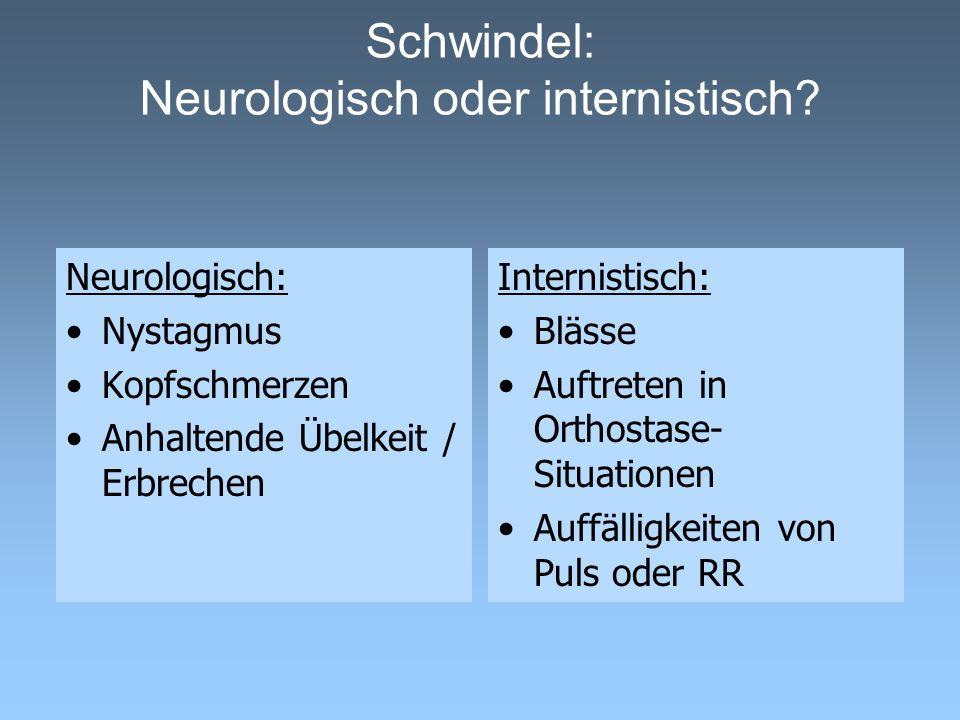 Schwindel: Neurologisch oder internistisch? Neurologisch: Nystagmus Kopfschmerzen Anhaltende Übelkeit / Erbrechen Internistisch: Blässe Auftreten in O