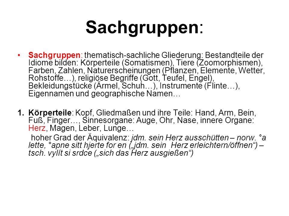 Sachgruppen: Sachgruppen: thematisch-sachliche Gliederung: Bestandteile der Idiome bilden: Körperteile (Somatismen), Tiere (Zoomorphismen), Farben, Za