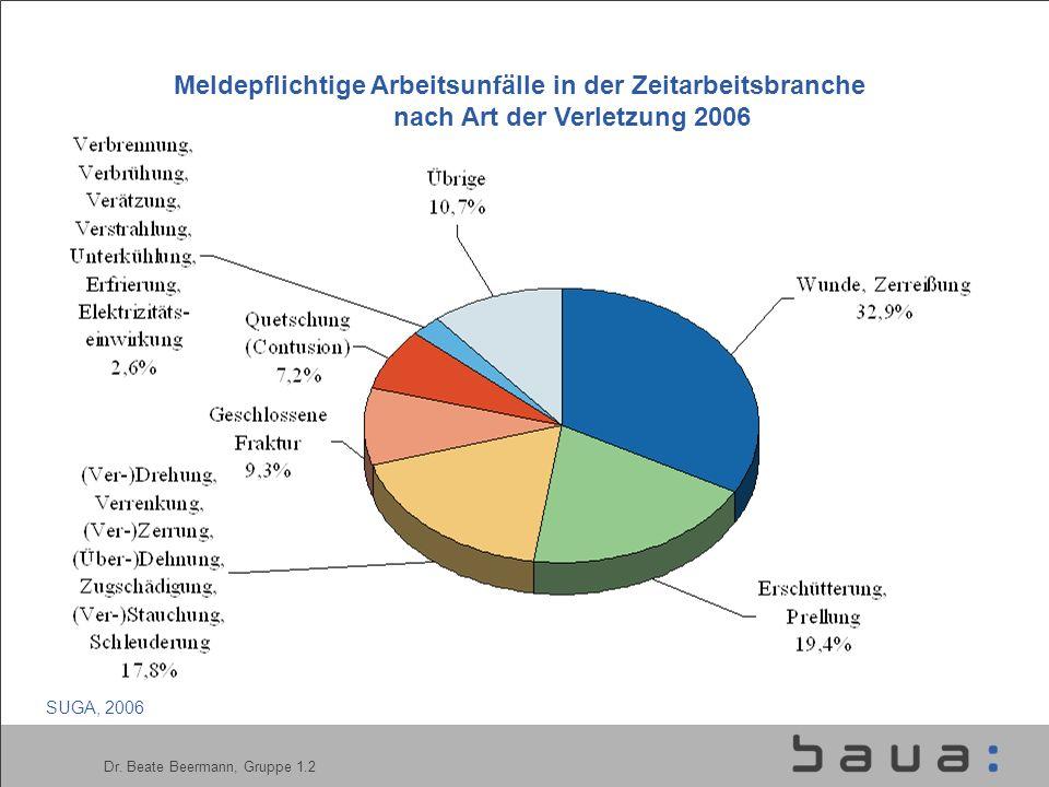 Dr. Beate Beermann, Gruppe 1.2 Meldepflichtige Arbeitsunfälle in der Zeitarbeitsbranche nach Art der Verletzung 2006 SUGA, 2006