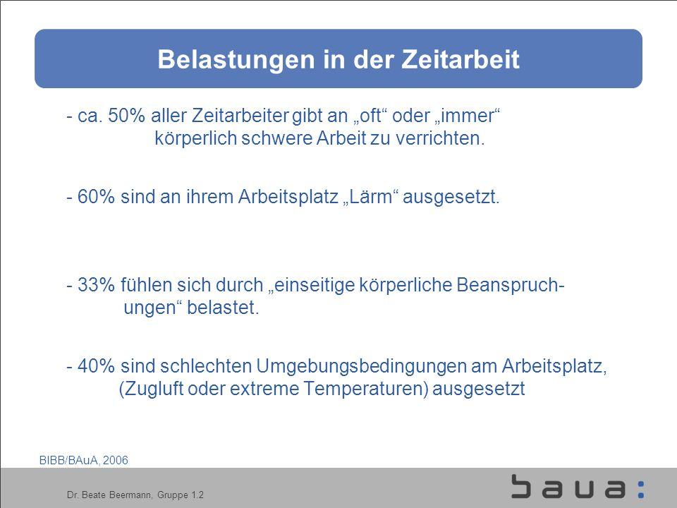 Dr.Beate Beermann, Gruppe 1.2 Belastungen in der Zeitarbeit - ca.