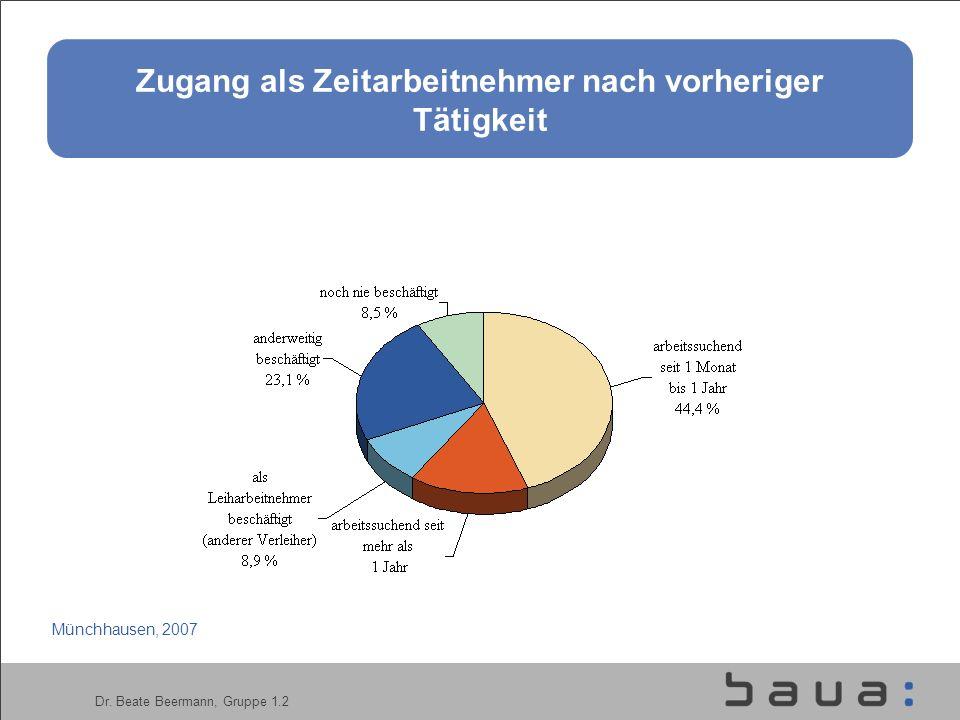 Dr. Beate Beermann, Gruppe 1.2 Zugang als Zeitarbeitnehmer nach vorheriger Tätigkeit Münchhausen, 2007