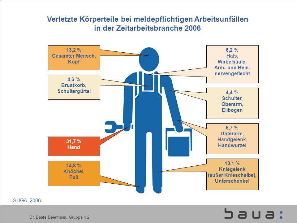 Dr. Beate Beermann, Gruppe 1.2 Verletzte Körperteile bei meldepflichtigen Arbeitsunfällen in der Zeitarbeitsbranche 2006 31,7 % Hand 13,2 % Gesamter M