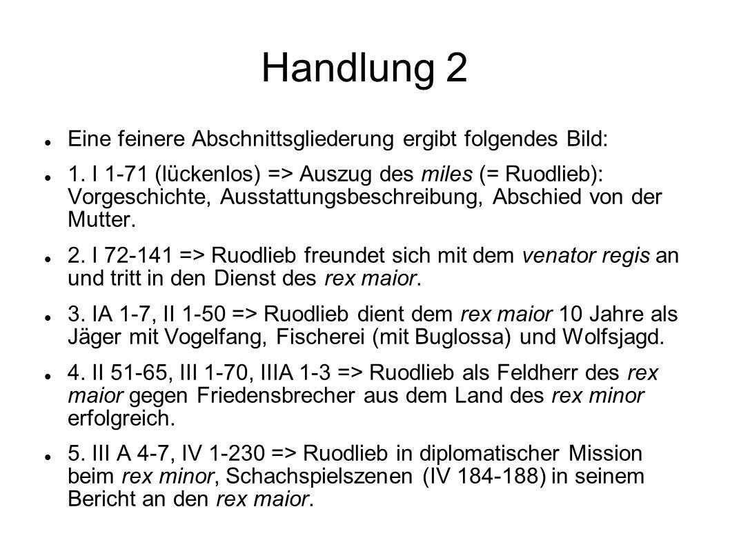 Handlung 2 Eine feinere Abschnittsgliederung ergibt folgendes Bild: 1. I 1-71 (lückenlos) => Auszug des miles (= Ruodlieb): Vorgeschichte, Ausstattung