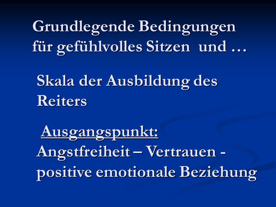 Grundlegende Bedingungen für gefühlvolles Sitzen und … Skala der Ausbildung des Reiters Ausgangspunkt: Angstfreiheit – Vertrauen - positive emotionale