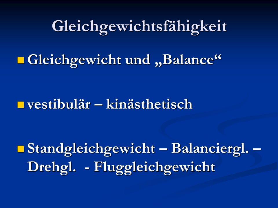 Gleichgewichtsfähigkeit Gleichgewicht und Balance Gleichgewicht und Balance vestibulär – kinästhetisch vestibulär – kinästhetisch Standgleichgewicht –