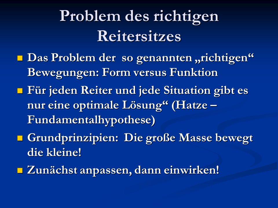 Problem des richtigen Reitersitzes Das Problem der so genannten richtigen Bewegungen: Form versus Funktion Das Problem der so genannten richtigen Bewe