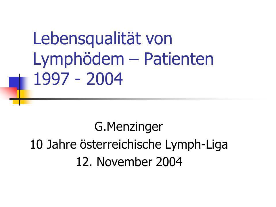 Lebensqualität von Lymphödem – Patienten 1997 - 2004 G.Menzinger 10 Jahre österreichische Lymph-Liga 12. November 2004