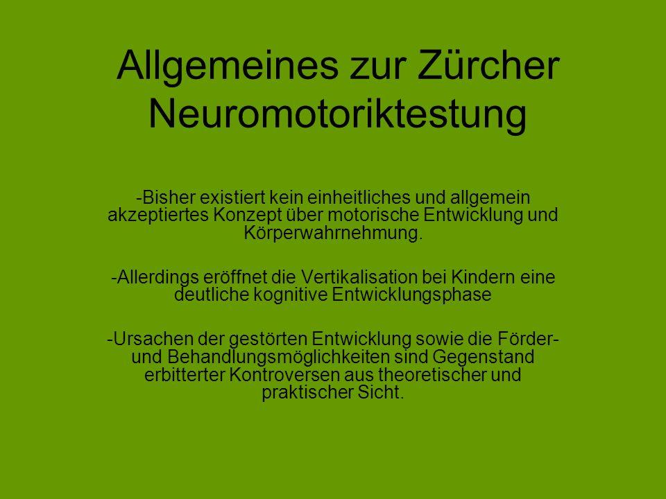 Allgemeines zur Zürcher Neuromotoriktestung -Bisher existiert kein einheitliches und allgemein akzeptiertes Konzept über motorische Entwicklung und Kö